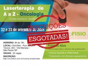 #ESGOTADO# Curso de Laserterapia de A a Z Oncologia - Teórico Prático de fotobiomodulação Turma 3